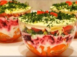 Очень вкусный и красивый слоеный салат с болгарским перцем