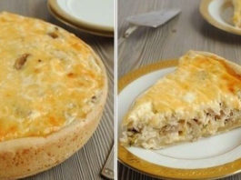 Пирог-сметанник с курицей и грибами