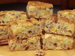 Постный пирог с яблоками, орехами и сухофруктами