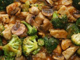 Курица в соусе с брокколи и грибами